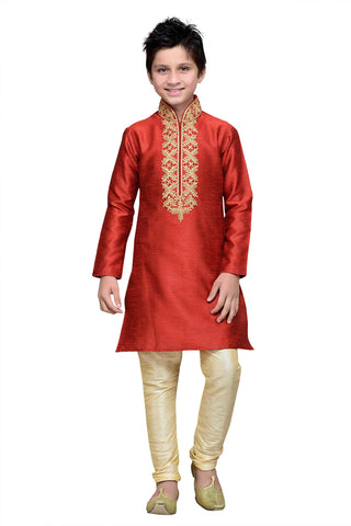 Maroon Color Art Silk Kurta Pyjama - IP142