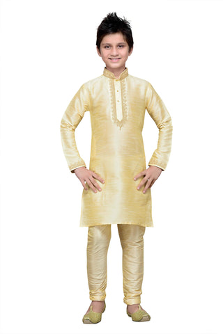 Gold Color Art Silk Kurta Pyjama - IP143
