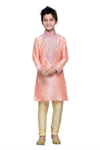 Pink Color Art Silk Kurta Pyjama - IP144