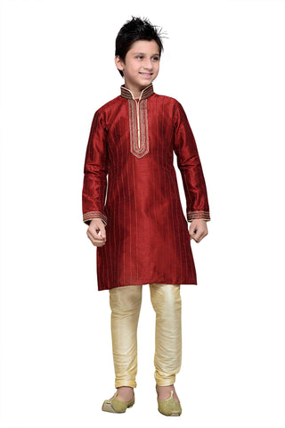 Maroon Color Art Silk Kurta Pyjama - IP145