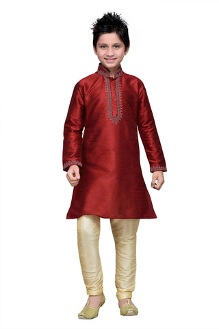 Maroon Color Art Silk Kurta Pyjama - IP146