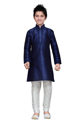 Navy Blue Color Art Silk Kurta Pyjama - IP151