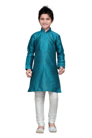 Rama Green Color Art Silk Kurta Pyjama - IP152