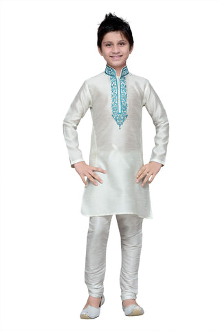 White Color Art Silk Kurta Pyjama - IP153