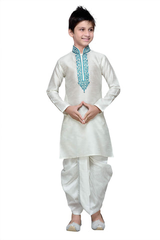 White Color Art Silk Kurta Pyjama - IP154