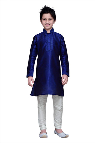 Royal Blue Color Art Silk Kurta Pyjama - IP155