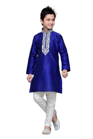 Royal Blue Color Art Silk Kurta Pyjama - IP156