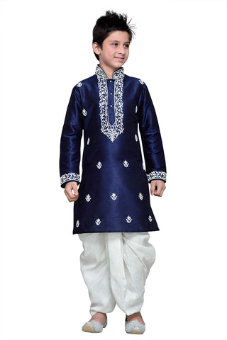 Navy Blue Color Art Silk Kurta Pyjama - IP158