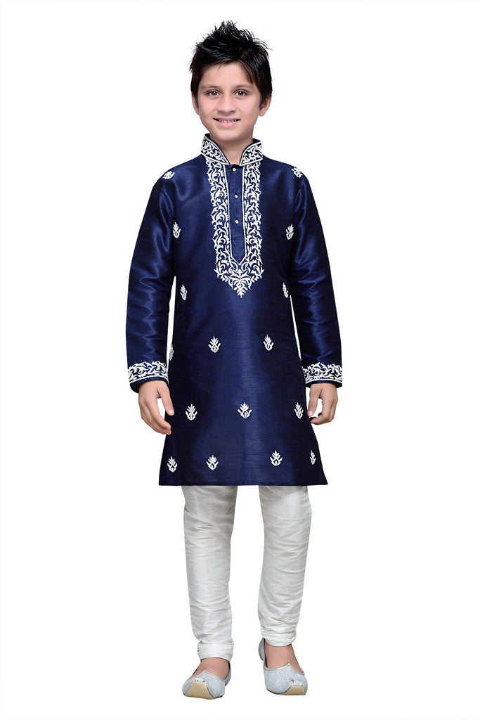 Navy Blue Color Art Silk Kurta Pyjama