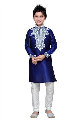 Navy Blue Color Art Silk Kurta Pyjama - IP160