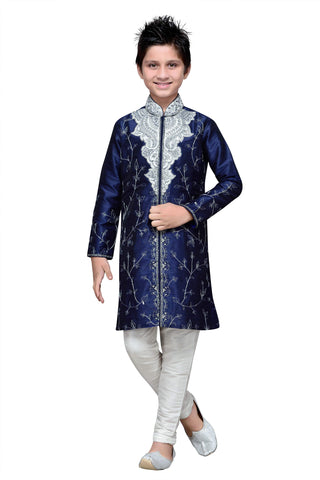 Navy Blue Color Art Silk Kurta Pyjama - IP161
