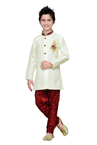 Cream Color Art Silk Kurta Pyjama - IP163