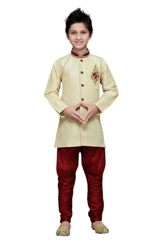Gold Color Art Silk Kurta Pyjama - IP164