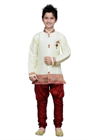 Cream Color Art Silk Kurta Pyjama - IP165