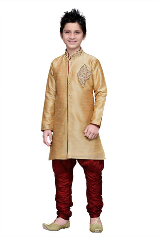 Gold Color Art Silk Kurta Pyjama - IP166