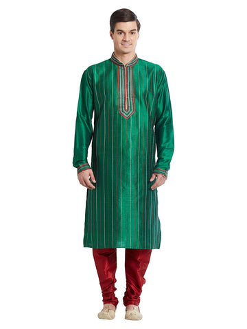 Green Color Silk Blend Kurta Pyjama - IP1678