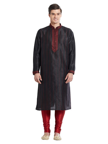 Black Color Silk Blend Kurta Pyjama - IP1679