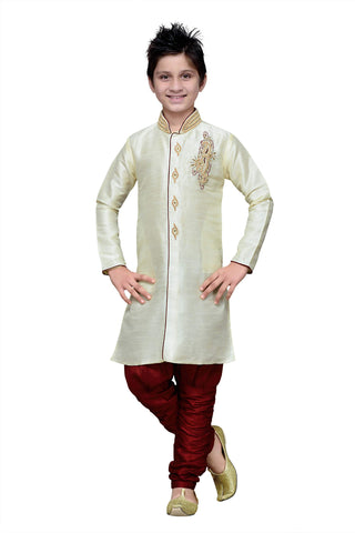 Cream Color Art Silk Kurta Pyjama - IP167