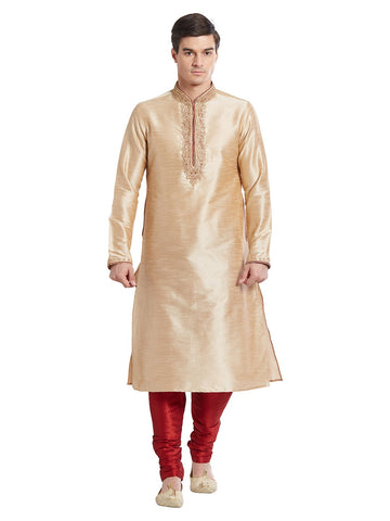 Brown Color Silk Blend Kurta Pyjama - IP1680