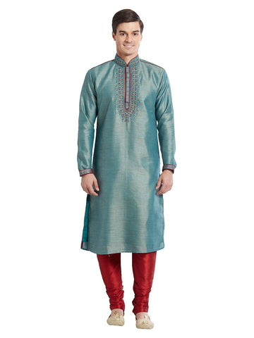 Blue Color Silk Blend Kurta Pyjama - IP1681