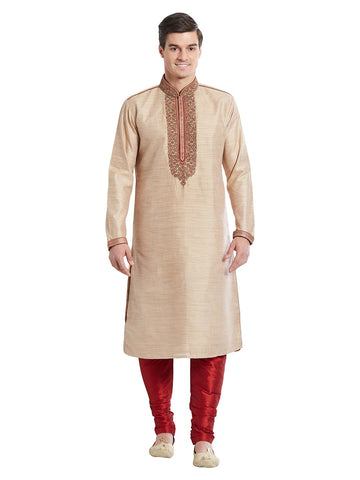 Brown Color Silk Blend Kurta Pyjama - IP1682