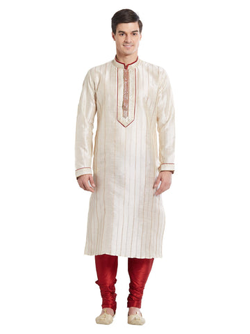 Off White Color Silk Blend Kurta Pyjama - IP1683