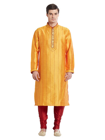 Mustard Color Silk Blend Kurta Pyjama - IP1684