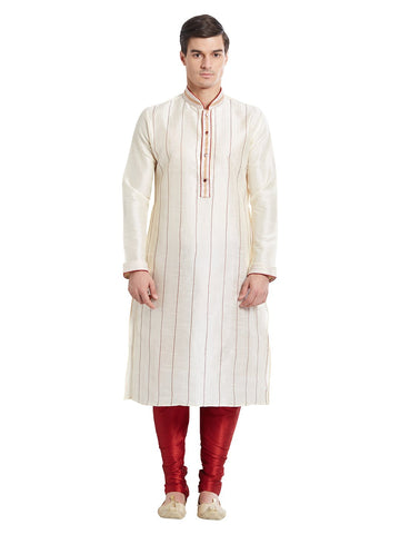 Cream Color Silk Blend Kurta Pyjama - IP1686