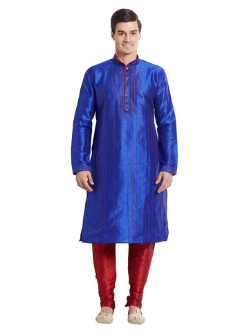Blue Color Silk Blend Kurta Pyjama - IP1688
