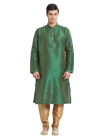 Green Color Silk Blend Kurta Pyjama - IP1689