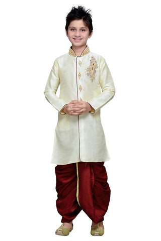 Cream Color Art Silk Kurta Pyjama - IP168