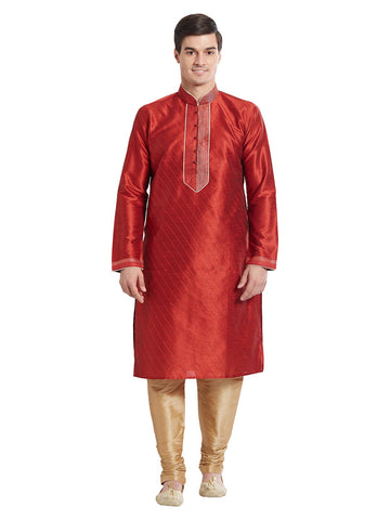 Maroon Color Silk Blend Kurta Pyjama - IP1690