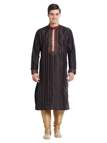 Black Color Silk Blend Kurta Pyjama - IP1692