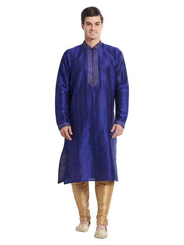 Navy Blue Color Silk Blend Kurta Pyjama - IP1693