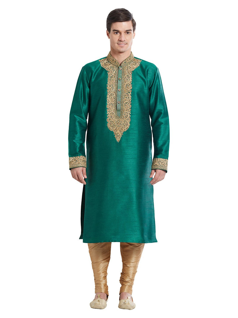 Green Color Silk Blend Kurta Pyjama
