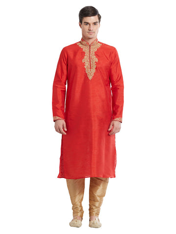 Red Color Silk Blend Kurta Pyjama - IP1696