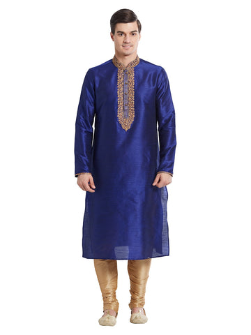 Navy Blue Color Silk Blend Kurta Pyjama - IP1697