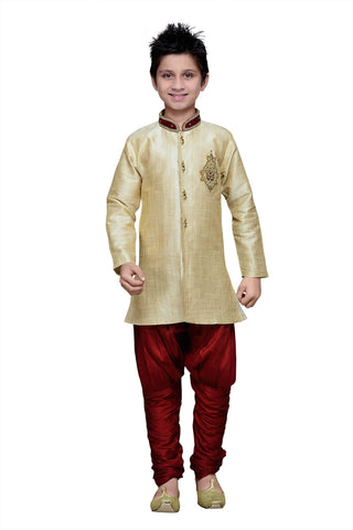 Gold Color Art Silk Kurta Pyjama - IP169
