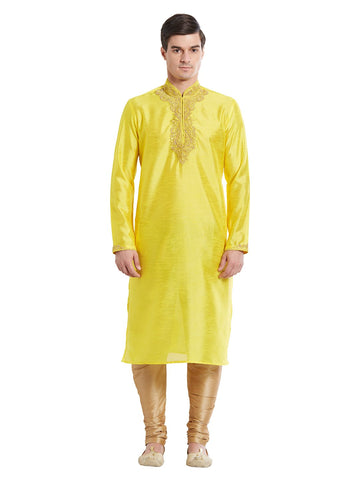 Yellow Color Silk Blend Kurta Pyjama - IP1700