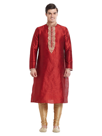 Maroon Color Silk Blend Kurta Pyjama - IP1701