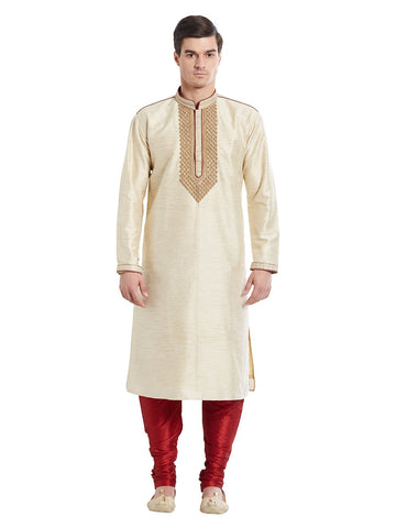 Beige Color Silk Blend Kurta Pyjama - IP1704
