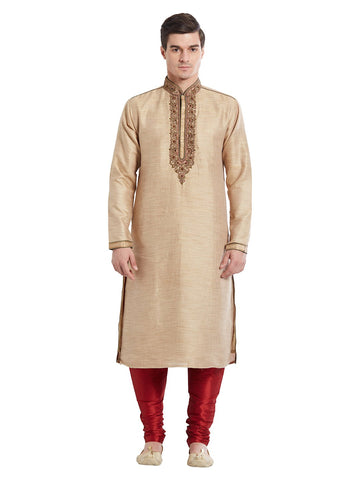 Brown Color Silk Blend Kurta Pyjama - IP1705