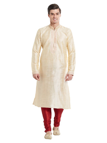 Cream Color Silk Blend Kurta Pyjama - IP1707