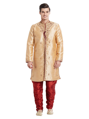 Brown Color Silk Blend Kurta Pyjama - IP1708