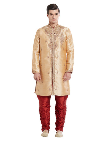 Brown Color Silk Blend Kurta Pyjama - IP1709