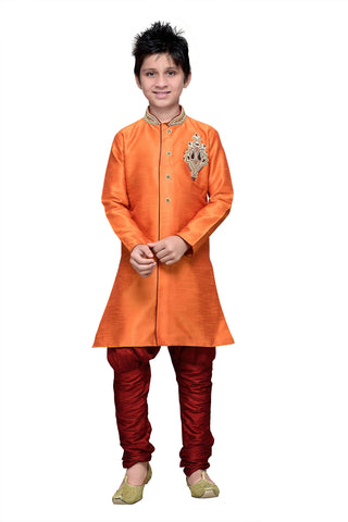 Orange Color Art Silk Kurta Pyjama - IP170