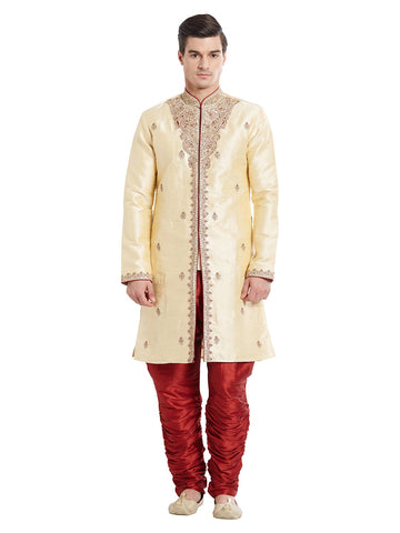 Brown Color Silk Blend Kurta Pyjama - IP1712