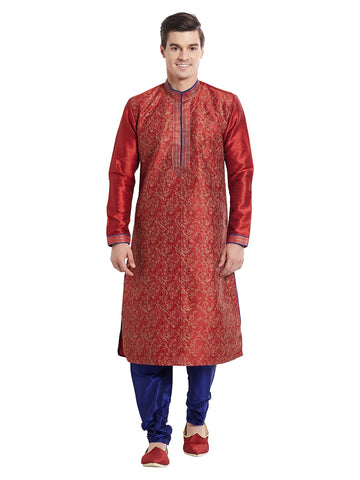 Maroon Color Silk Blend Kurta Pyjama - IP1715