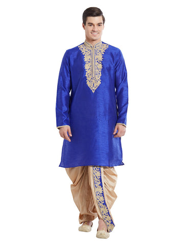Blue Color Silk Blend Kurta Pyjama - IP1716