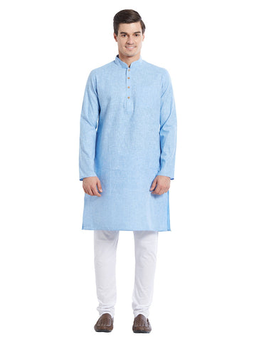 Blue Color Pure Cotton Kurta Pyjama - IP1718